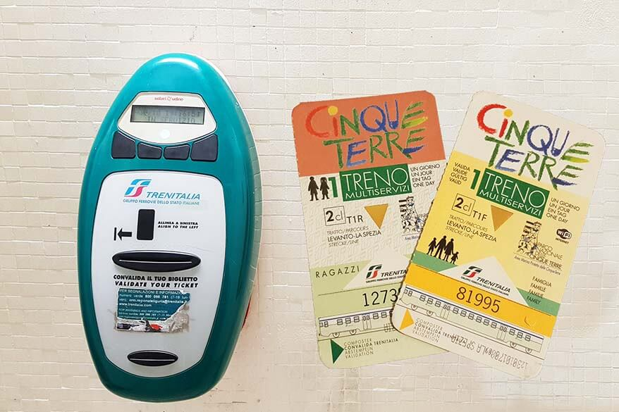Cinque Terre card and train ticket validating machine