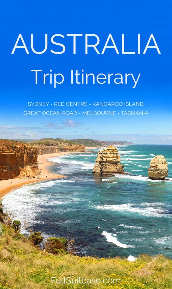 Australia trip itinerary featuring Sydney and the Blue Mountains, the Red Centre, Kangaroo Island, the Great Ocean Road, the Grampians NP, Melbourne, Tasmania and more - plan your trip! #Australia