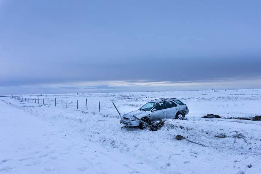 Car accident in Iceland in winter