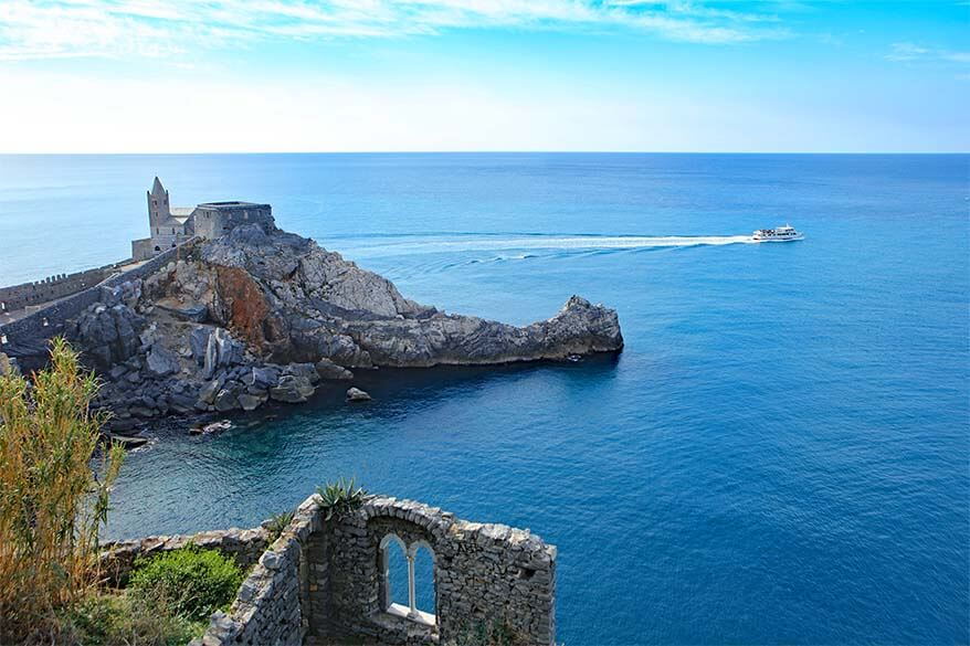 Church of Saint Pieter and Lord Byron Grotto in Portovenere Italy