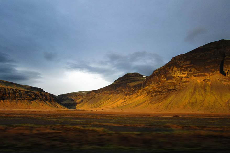 Driving at sunrise to maximize short daylight hours in Iceland in December