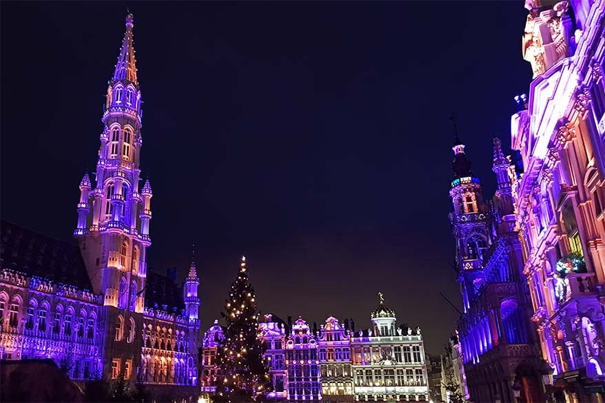 Brussels Grand Place lit during Christmas period