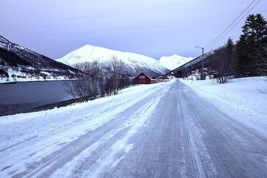 Icy country road in Iceland in winter
