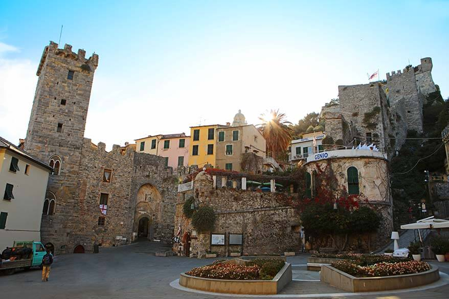 Porta del Borgo and Torre Capitolare in Portovenere Italy