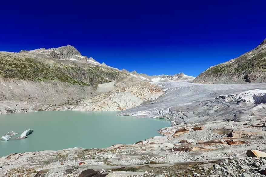 Rhone Glacier along the Furka Pass in Switzerland