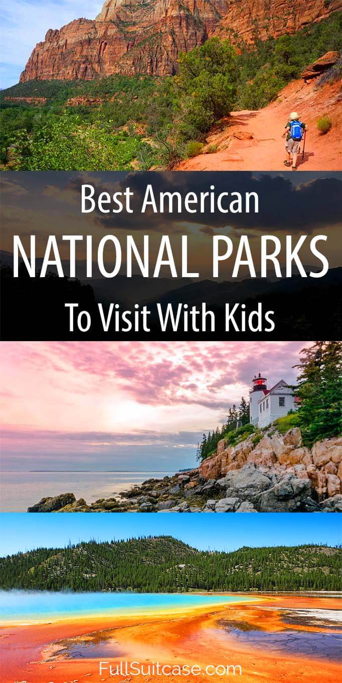 Selection of 16 most popular and best American national parks for a family vacation