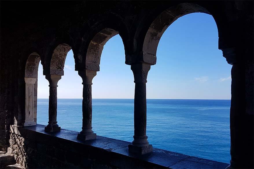 View over Ligurian Sea from Saint Pietro Church in Porto Venere Italy