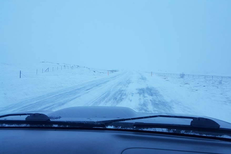 Winter driving in Iceland in the mist and snow storm