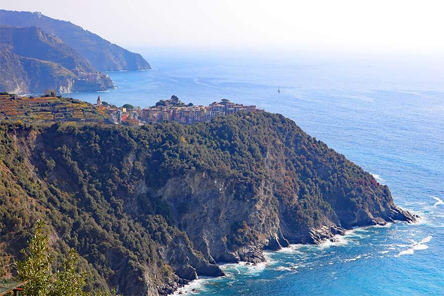 Cinque Terre coast - Corniglia and Manarola as seen from the hiking trail