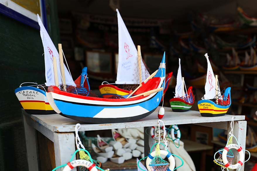 Hand crafted wooden souvenirs for sale in Nazare Portugal