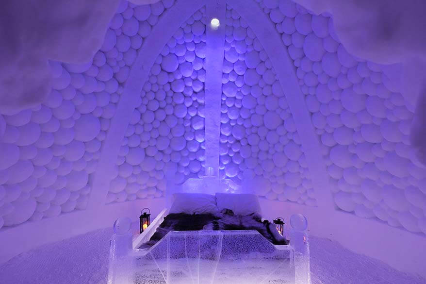Ice bed at an ice hotel - Tromso Ice Domes Norway
