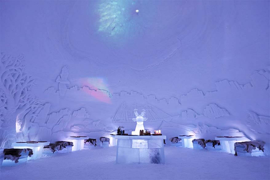 Ice restaurant at Tromso Ice Hotel Norway