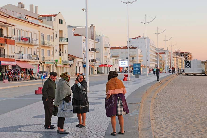 Local people wearing traditional clothing in Nazare Portugal