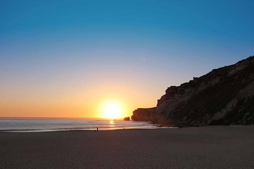 Nazare beach at sunset