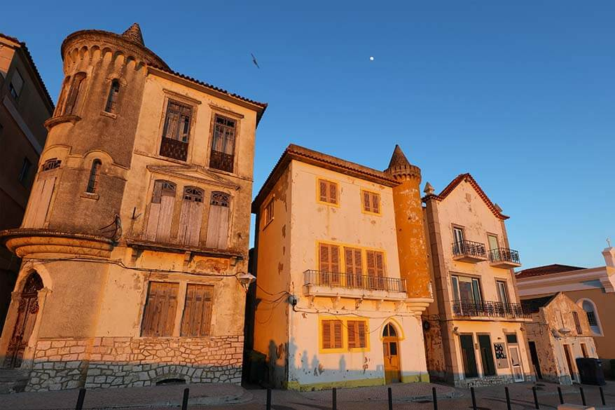 Old buildings in Nazare in Central Portugal