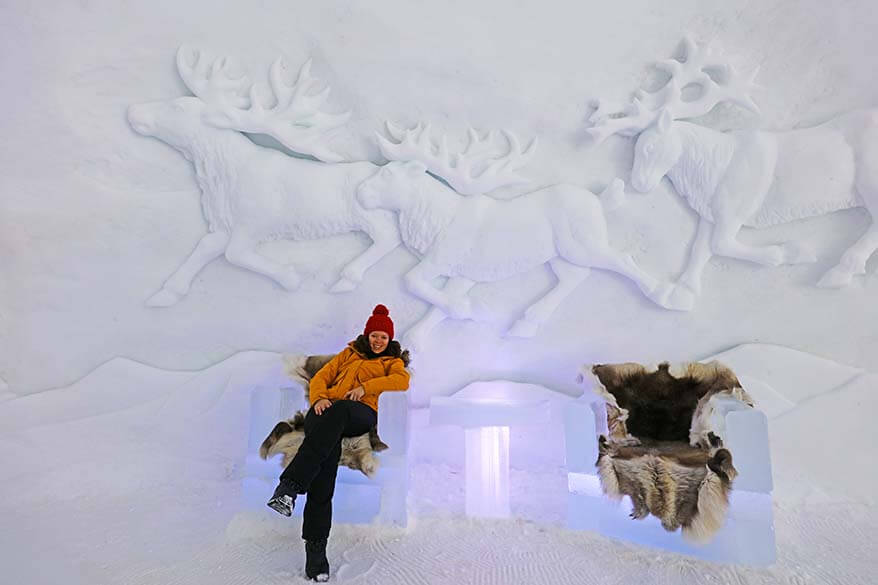 Reindeer ice carvings at Tromso Ice Domes in Norway