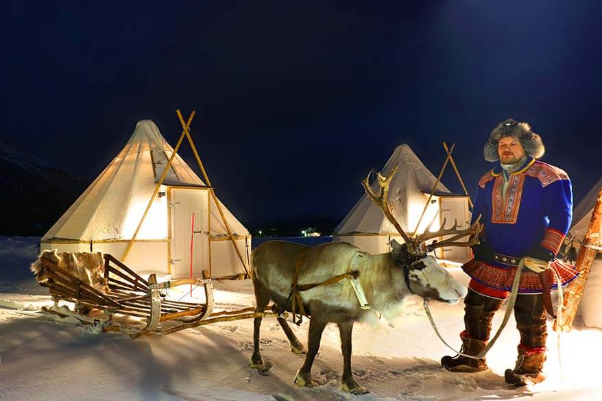 Reindeer sledding with Sami people in Tromso Norway