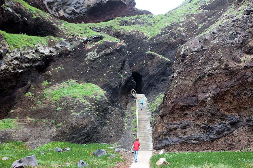 Entrance to a hidden beach in Northern Madeira