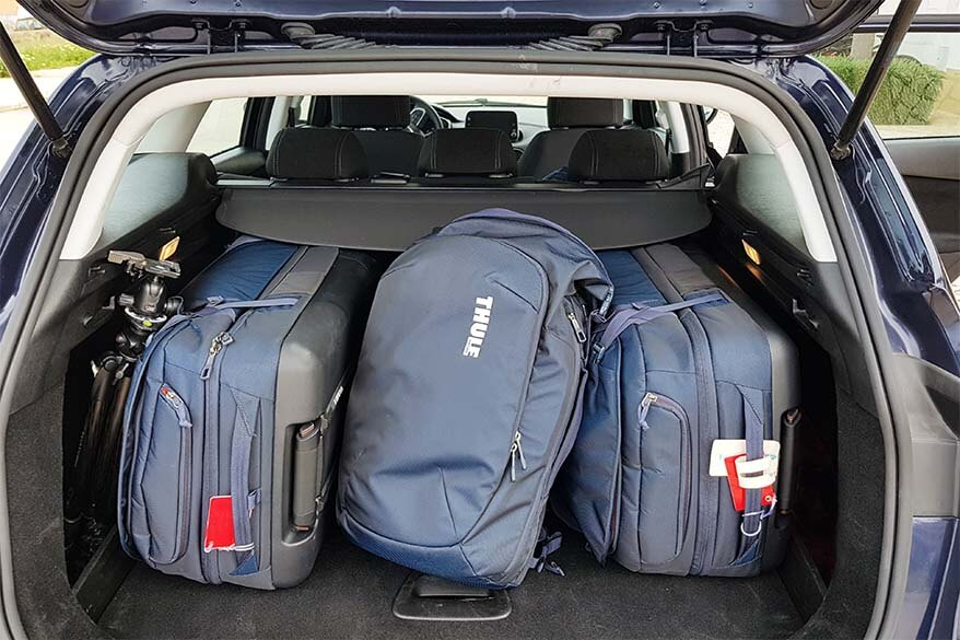 You can easily fit 3 Thule Subterra rolling duffels in a trunk of a car