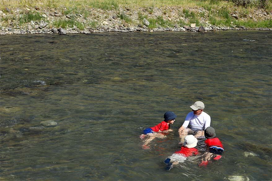 Bathing in the Boiling River in Yellowstone with kids