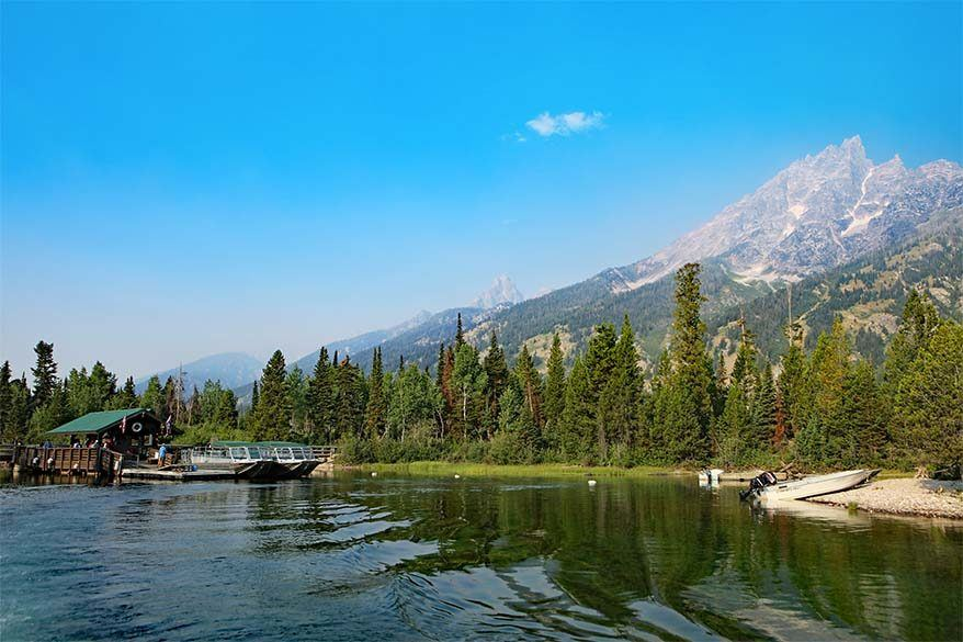 Best way to spend one day in Grand Teton National Park is to take a Jenny Lake boat and hike to Hidden Falls and Inspiration Point