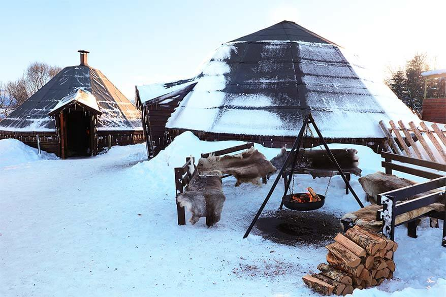 Cozy bonfire at Tromso Wilderness Centre in winter