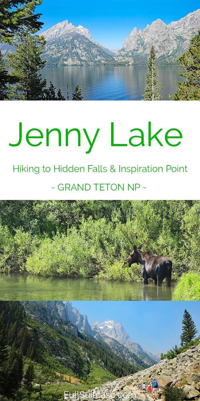 Jenny Lake and hiking to Hidden Falls, Inspiration Point and Cascade Canyon - Grand Teton NP, Wyoming USA