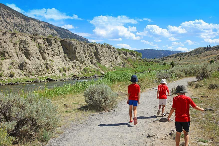Kids walking on the Boiling River trail in Yellowstone
