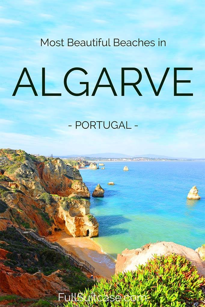 Most beautiful beaches in Algarve region in South Portugal