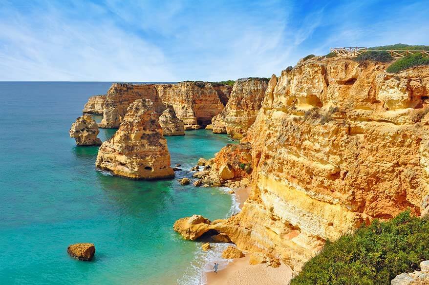 Praia da Marinha is one of the most beautiful beaches in Algarve Portugal