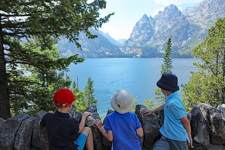 Scenic view of Grand Teton from Jenny Lake Road