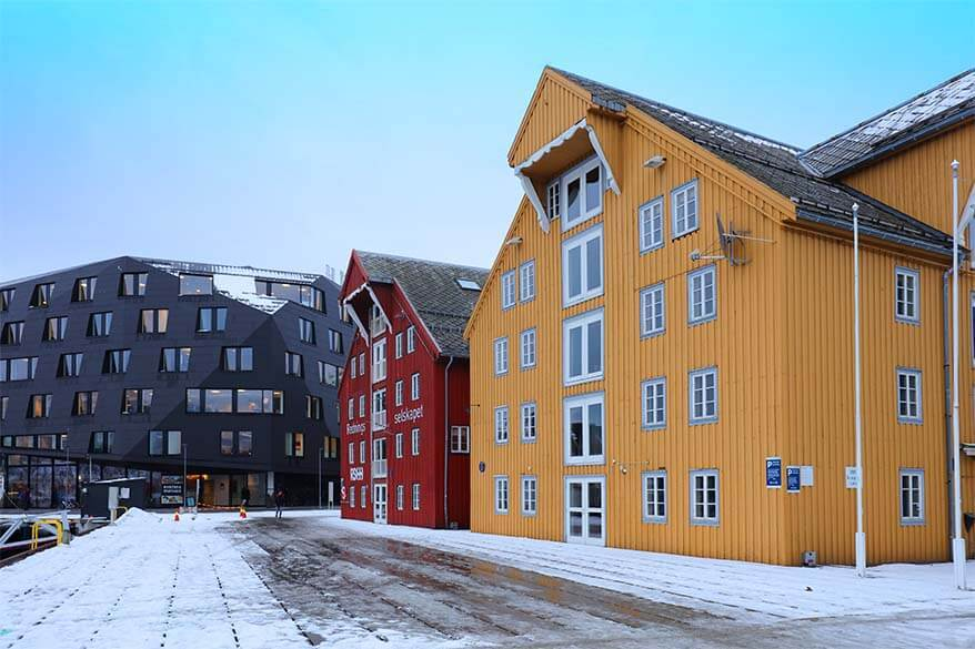 Slippery streets of Tromso in winter - you may want to pack stabilicers to wear in Northern Norway in winter