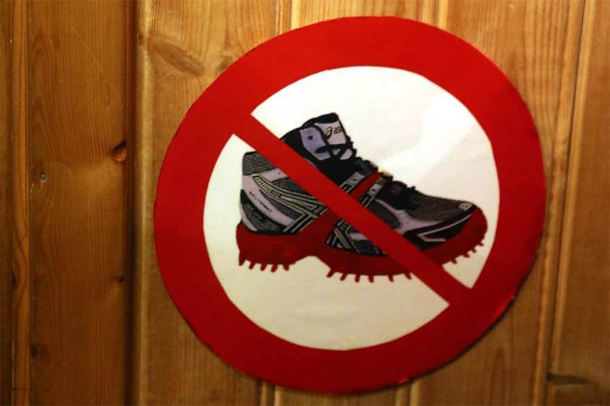 Spikes forbidden sign at a museum in Tromso Norway