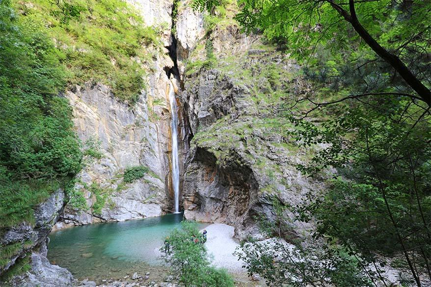 Canyoning at Cascata di Storo waterfall in Palvico river in Italy
