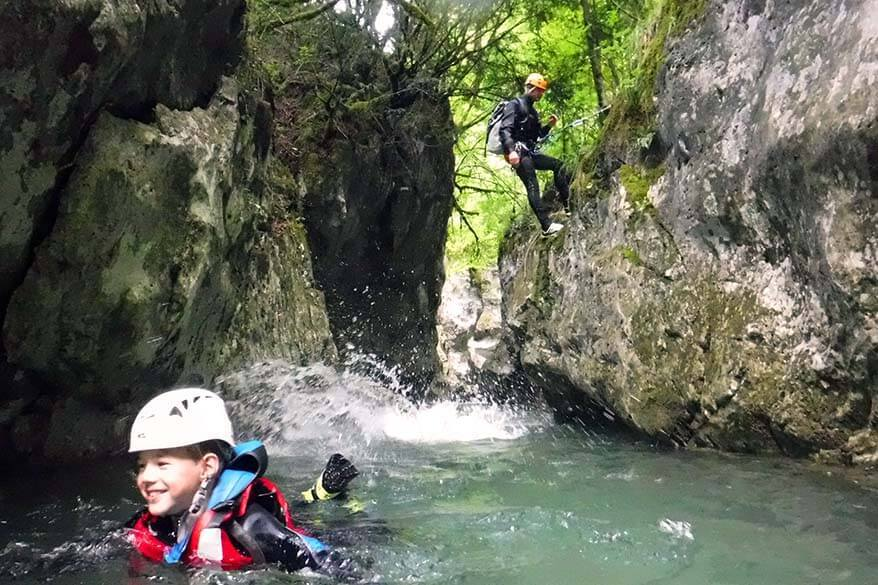 Canyoning with kids in Trentino Italy