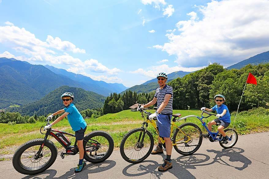 E-mountain biking in Italy with kids