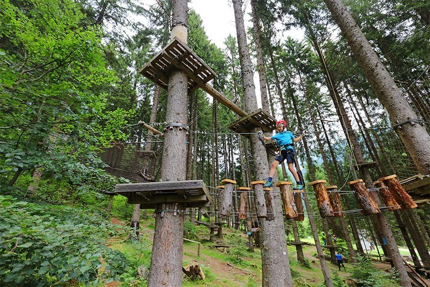 Family day at Breg Adventure Park in Italy with kids