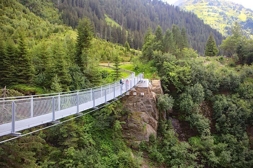 Hanging bridge in Verwall Valley in St Anton - Tirol Austria