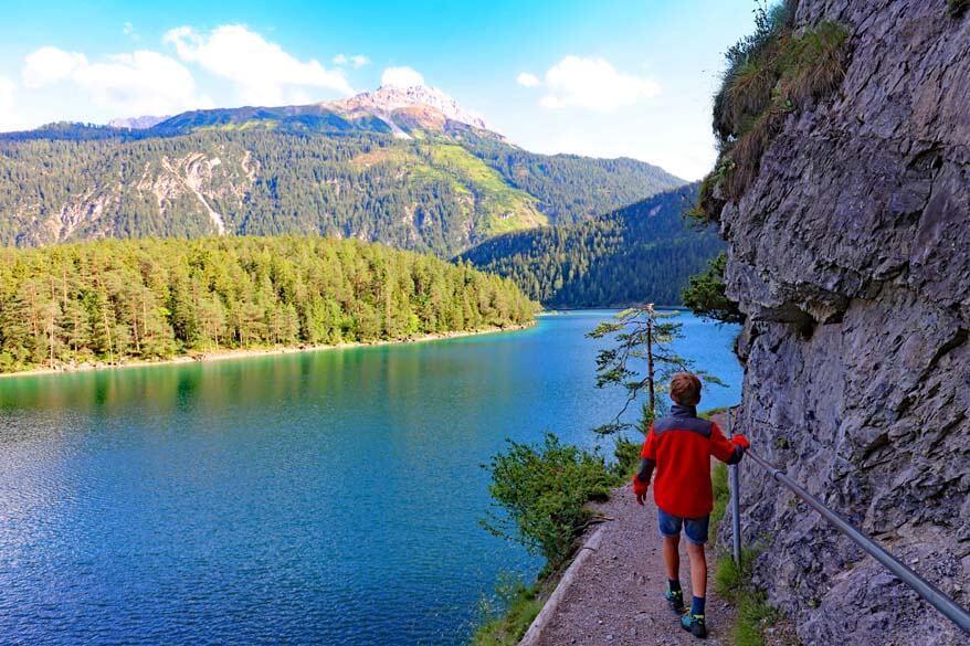 Kids hiking at Blindsee in Tirol Austria