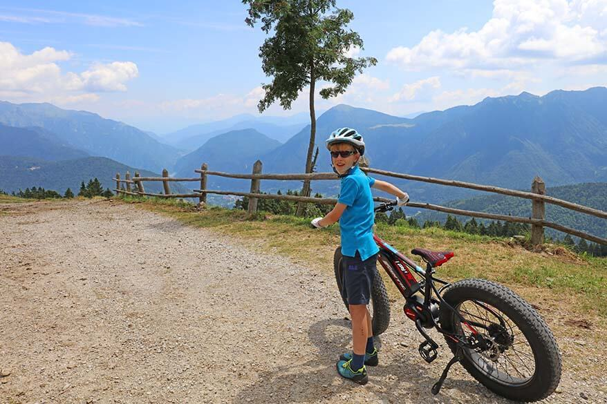 Mountain biking in Breguzzo area Italy with kids