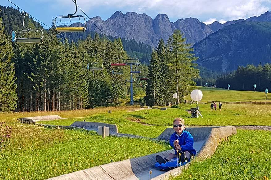 Summer toboggan in Tyrol with kids - alpine coaster in Biberwier Austria