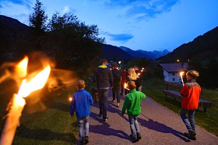 Torch-lit hike with kids in St Anton am Arlberg Tyrol Austria