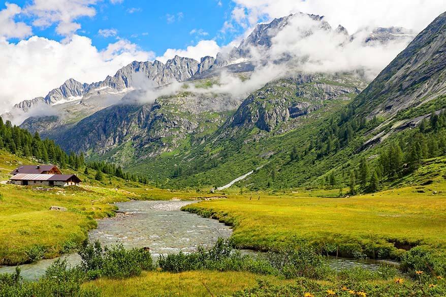 Beautiful mountain scenery at Val di Fumo in Italy