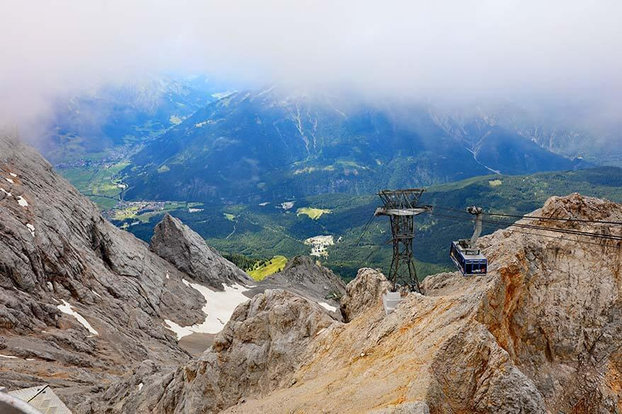 View from the top of Zugspitze mountain in Tirol Austria