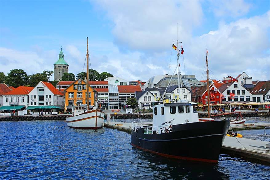 Colorful houses and boats at Strandkaien in Stavanger