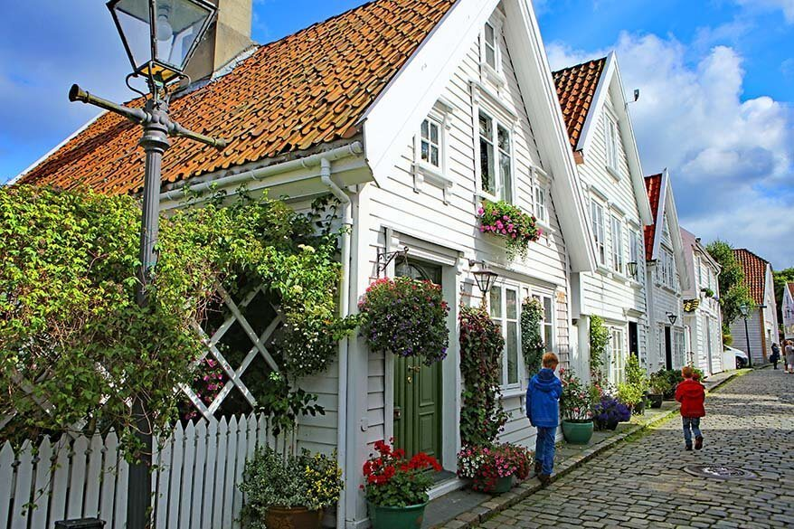 Gamle Stavanger - historic city area with white 18th - 19th century houses in Stavanger Norway