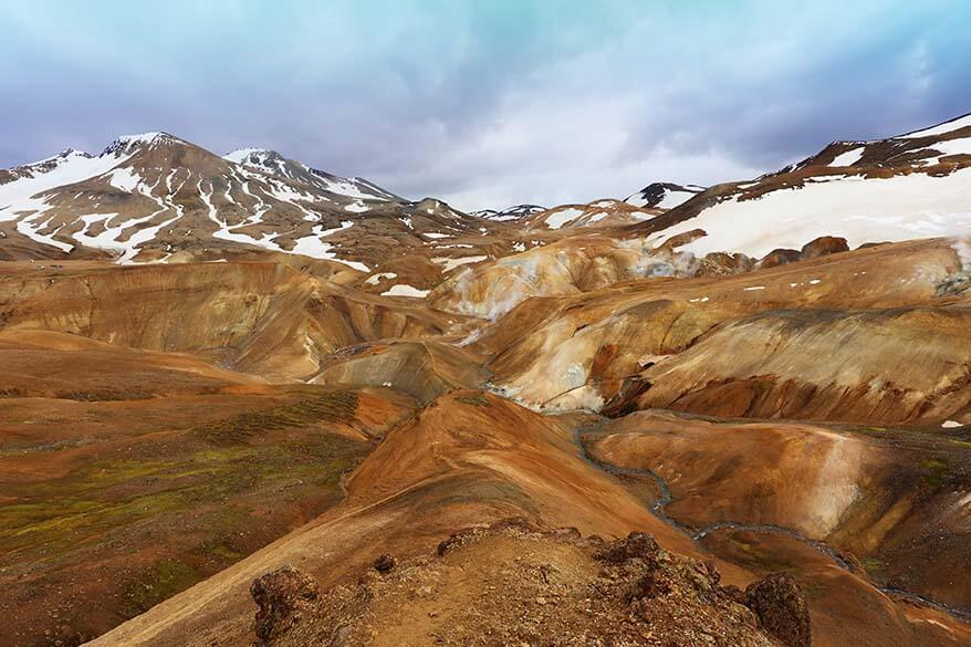 Colorful geothermal area of Kerlingarfjoll in Icelandic highlands
