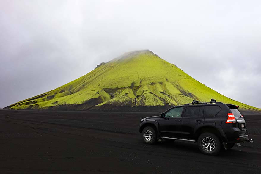 Driving to Maelifell mountain in Iceland