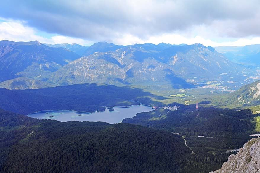 Eibsee in Germany as seen from the Austrian side of Zugspitze mountain