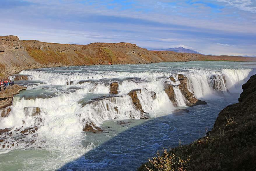 Gullfoss waterfall as seen from the East Bank - the side accessible only via Icelandic Highland roads